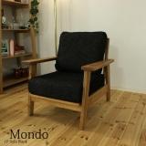 木枠フレームファブリックソファ 1人掛け / Mondo(モンド) ブラック