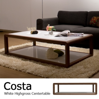 ホワイトハイグロス仕上げ リビングテーブル / Costa